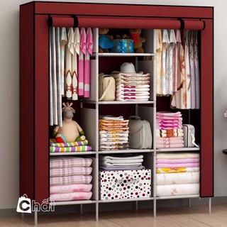 Tủ vải quần áo 3 buồng 8 ngăn Tủ quần áo Tủ vải 3 buồng - TVQAGD001-Z1 thumbnail