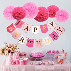 Set trang trí Hoa giấy Happy BirthDay