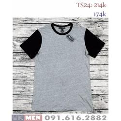 Áo phông ghi đen không cổ F orever21 nam tính