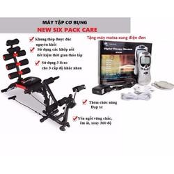 Máy tập cơ bụng new six pack care tặng kèm máy matxa xung điện đen