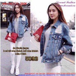 Áo khoác jean nữ tay dài rách năng động trẻ trung AKJ129