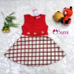 Đầm caro đỏ bé gái hàng VNXK