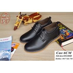 Giày tăng chiều cao nam da thật S68 đen, cao 6cm