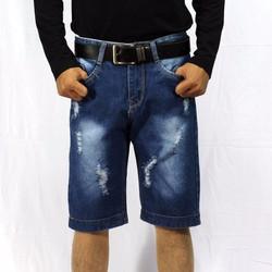 quần short nam xanh đậm xé gấu q35