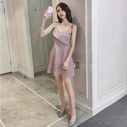 Váy Caro Hai Dây Hàng Quảng Châu Cao Cấp Rất Đẹp