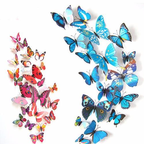 Set 12 bướm 3d trang trí tủ lạnh hoặc dán tường