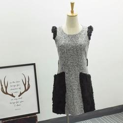 Đầm công sở cao cấp có túi kết lông