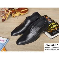 Giày tăng chiều cao nam da thật S 1002 CS, cao 6cm