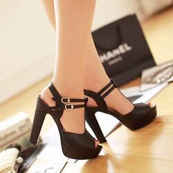Giày cao gót 2 quai cài CK196