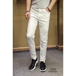 Quần jean nam rách màu trắng, thời trang soái ca