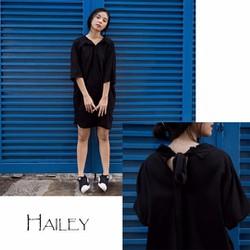 Đầm suông đen form sơ mi cực cá tính