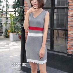 Đầm body len phối màu sn hàng nhập QC