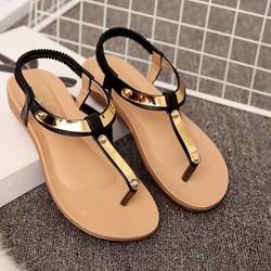 Giày sandal đế thấp nữ quai vàng - LN1312