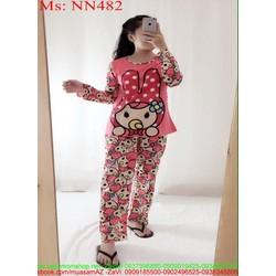 Đồ bộ nữ mặc nhà dài tay hình cô bé đáng yêu NN482