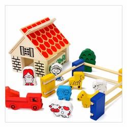 Bộ đồ chơi gỗ lắp ghép trang trại vui vẻ