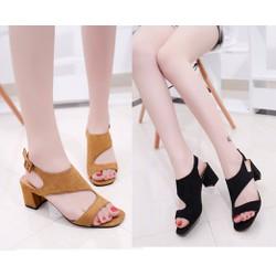 Giày sandal đế vuông quai ngang CUT OUT dây hậu