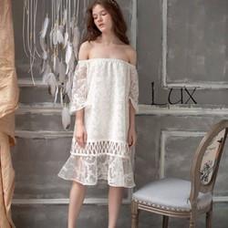 Đầm ren trắng trễ vai form suông cực đáng yêu