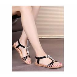 Giày sandal đế thấp nữ 3 quai chéo đính đá - LN1311