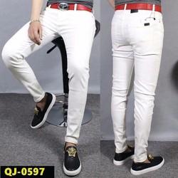 Quần jean nam màu trắng, hàng trơn, ống côn thời trang