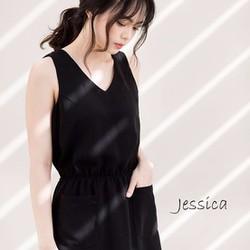 Đầm suông đen cổ V đơn giản cực đẹp