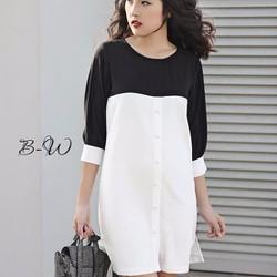 Đầm suông phối màu trắng đen