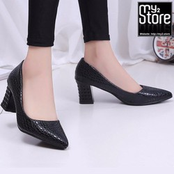 Giày cao gót phong cách phương đông, mũi nhọn gót vuông, màu đen 01