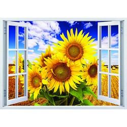 Tranh dán tường 3D cửa sổ hoa hướng dương CS71