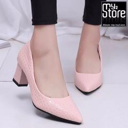 Giày cao gót phong cách phương đông, mũi nhọn gót vuông, màu hồng 01