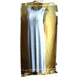 Đầm maxi Thailand sát nách màu xám sữa xẻ vạt 2 bên