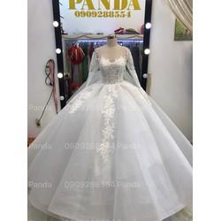 áo cưới tay dai trắng ren hoa nhẹ nhàng đon giản vi tính