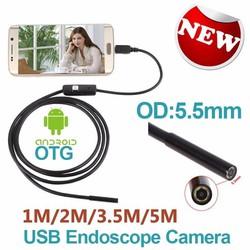 Camera nội soi 5mm dài 5m cắm qua điện thoại hoặc USB máy tính