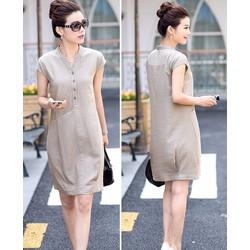 HÀNG ĐỦ SIZE Đầm suông bổ trụ phối túi phong cách Hàn Quốc