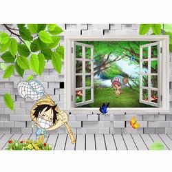 Tranh dán tường 3D  cửa sổ phòng bé CS64