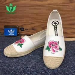 Giày slip on nữ hoa hồng 02 màu