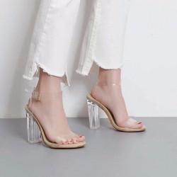 Giày cao gót  gót vuông hở mũi