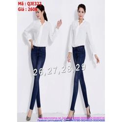 Quần jean nữ ống ôm lưng cao xanh dễ phối đồ cho nàng QJE322