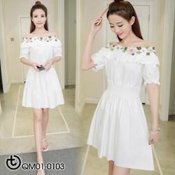 Đầm trắng trễ vai hoa - hàng nhập Quảng Châu cao cấp