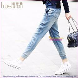 Quần jean nữ lưng thun ống lỡ GLQ036