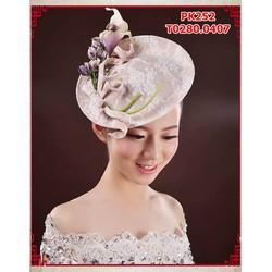 Mũ cô dâu phong cách cổ điển , đính hoa
