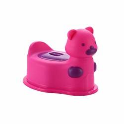 Bô gấu đi vệ sinh cho bé có bánh xe di chuyển Màu Hồng