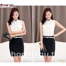 Set bộ áo voan + chân váy công sở cao cấp SET05 - Màu trắng