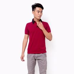 Áo thun nam cổ phối màu phong cách màu đỏ