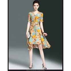 Đầm xòe vintage họa tiết