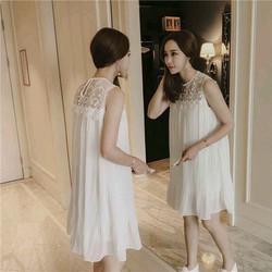 Đầm suông trắng dập li phối ren