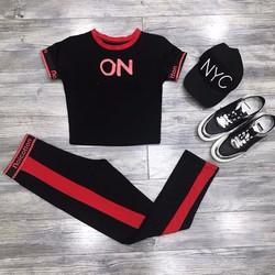 Set áo thun crop ON + quần legging