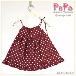 Váy lụa 2 dây chấm bi đỏ mận cực xinh xắn