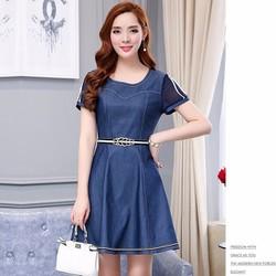 Đầm Jean Xòe Tay Lưới Kèm Nịt Quyến Rũ - DTP1358