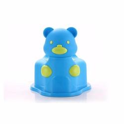 Bô gấu đi vệ sinh cho bé có bánh xe di chuyển Màu xanh