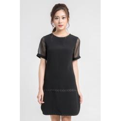 Đầm suông hàng thiết kế phối kẻ