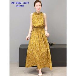 Đầm Maxi Lụa Hoa Eo Thun - Không kèm belt